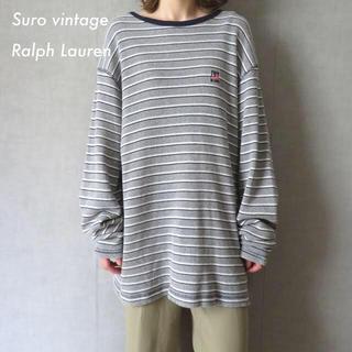 ポロラルフローレン(POLO RALPH LAUREN)の90s ラルフローレン 刺繍 ボーダー Tシャツ ロンT サーマル生地 古着(Tシャツ(長袖/七分))