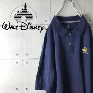 ディズニー(Disney)のDisney  ポロシャツ ミッキー刺繍 希少 XL ディズニー 紺色(ポロシャツ)
