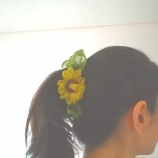 ラッピング無料送料無料☆オーガンジーリボン向日葵のバナナクリップ リボンフラワー(ヘアアクセサリー)