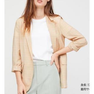 ユニクロ(UNIQLO)のユニクロ ライトシャツジャケット 春 夏 レディース  M ベージュ 新品 M(テーラードジャケット)