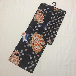 レディース 浴衣 ゆかた 紺色 オレンジ 小花・大花模様(浴衣)