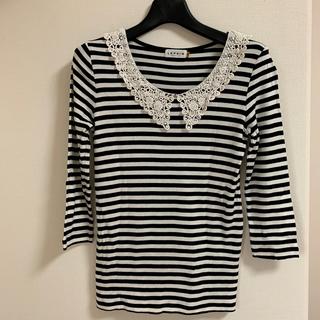 レプシィム(LEPSIM)のレース襟 ボーダーTシャツ(Tシャツ/カットソー(七分/長袖))