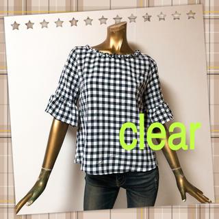 クリア(clear)のclear ♥ ナチュラル 袖フレア チェック ブラウス(シャツ/ブラウス(半袖/袖なし))