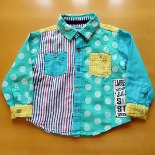 シマムラ(しまむら)の100cm 長袖 パッチワークシャツ(ブラウス)