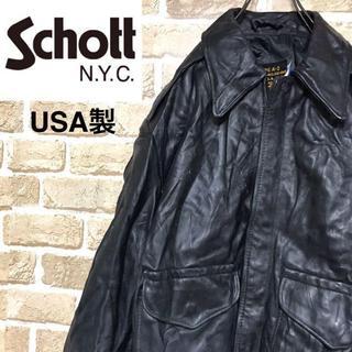 ショット(schott)の【USA製】ショットSCHOTT入手困難A-2ジャケットリアルレザー ブラック(レザージャケット)