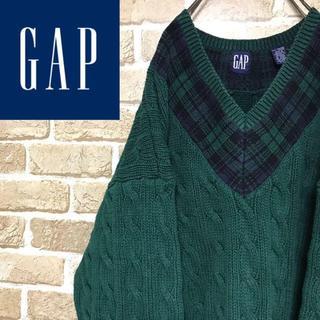 GAP - 【90sオールドギャップ】肉厚 グリーン ケーブル編みコットンニット Vネック