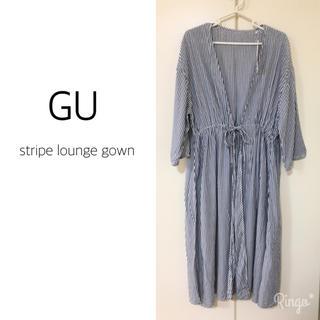 ジーユー(GU)のGU▶︎ストライプ ガウン/ネイビー Mサイズ(その他)