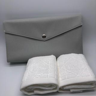 ディオール(Dior)の【未使用】ディオール タオル 白 クラッチバッグ グレー ノベルティ(タオル/バス用品)
