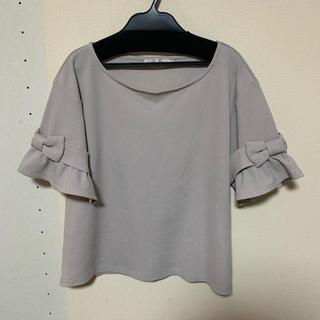 クチュールブローチ(Couture Brooch)の袖フリルリボン ワッフル半袖カットソー(カットソー(半袖/袖なし))