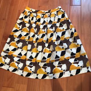 フィグロンドン(fig London)の【お値下げしました】フィグロンドン 幾何学dog柄フレアスカート(ひざ丈スカート)