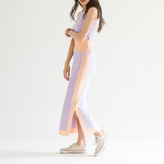 シールームリン(SeaRoomlynn)のバイカラーニットスカート 新品(ひざ丈スカート)