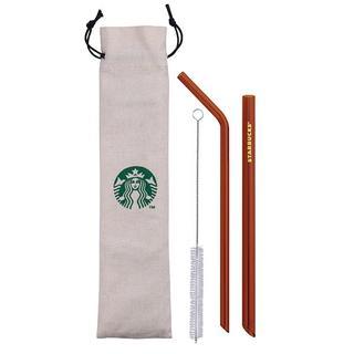 Starbucks Coffee - 【台湾限定 スターバックス】紅 ガラス ストロー ポーチ付き ロゴ