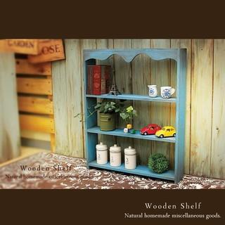 ハンドメイド アンティーク風 シェルフ 木製 棚 ニーズブルー(家具)