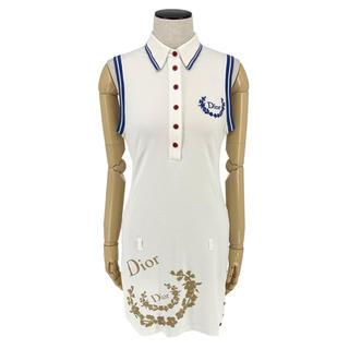 クリスチャンディオール(Christian Dior)のChristian Dior☆ ミニワンピース ロゴ コットン ホワイト ブルー(ひざ丈ワンピース)