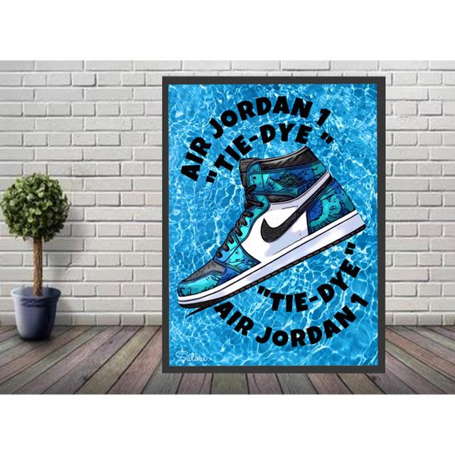 AIR JORDAN 1 TIE DYE コミックシューズ ポスター 額付き メンズの靴/シューズ(スニーカー)の商品写真