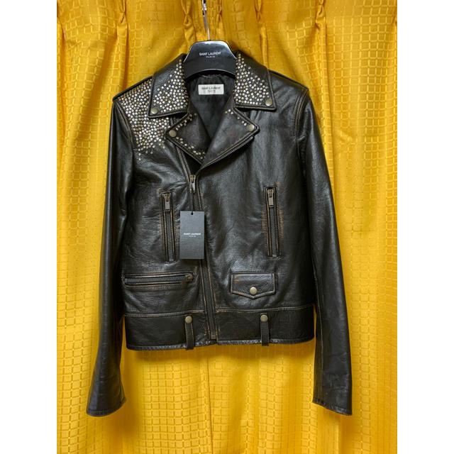 Saint Laurent(サンローラン)の【Saint Laurent】ヴィンテージ加工スタッズライダースジャケット メンズのジャケット/アウター(ライダースジャケット)の商品写真