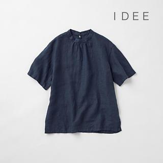 イデー(IDEE)の IDEE  POOL  いろいろの服 スタンドカラーブラウス ネイビー(シャツ/ブラウス(半袖/袖なし))