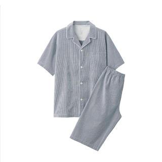 ムジルシリョウヒン(MUJI (無印良品))の無印良品脇に縫い目のない サッカー織り半袖パジャマ 紳士M・ネイビー×チェック(その他)