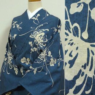 単衣 渋い青色に菊 後染め紬(着物)