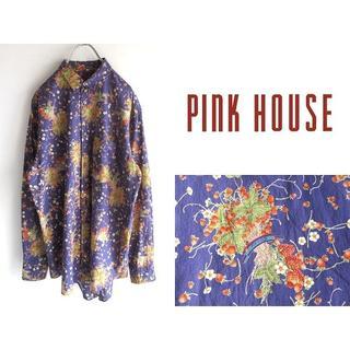 ピンクハウス(PINK HOUSE)の希少 ピンクハウス 花柄/苺ブーケプリント 総柄シャツ F(シャツ)