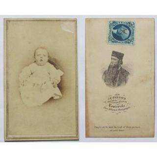 赤ちゃん 収入印紙 幕末 明治 鶏卵紙 古写真 写真家 子供 戦前 アンティーク(写真)
