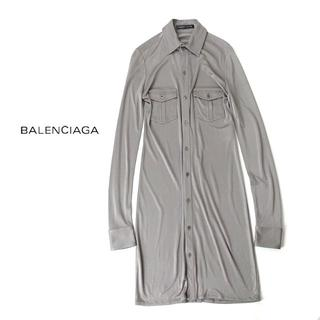 バレンシアガ(Balenciaga)のバレンシアガ BALENCIAGA シルク100%微光沢ストレッチワンピース(ひざ丈ワンピース)
