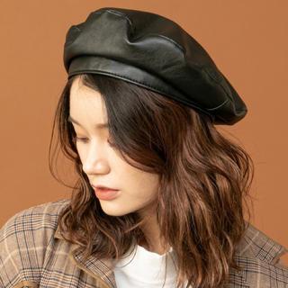 RASVOA レザー ベレー帽(ハンチング/ベレー帽)