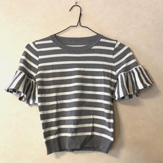 グレイル(GRL)のフリル ボーダー カットソー tシャツ フリーサイズ ★880円均一★ (Tシャツ/カットソー(半袖/袖なし))