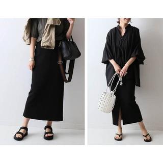 フレームワーク(FRAMeWORK)の FRAMeWORK フレームワーク スムースタイトスカート 黒(ロングスカート)