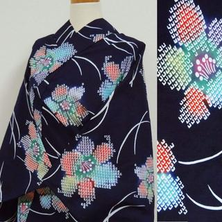 紺地に疋田調の花 注染浴衣(浴衣)
