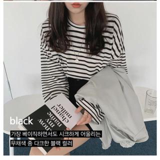 ゴゴシング(GOGOSING)のdejou ワイドボーダーTシャツ ブラック(Tシャツ(長袖/七分))