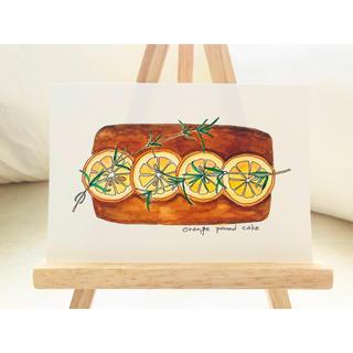 オレンジのパウンドケーキ【原画 水彩画】(アート/写真)