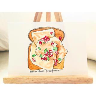 ハロウミチーズとザクロのオープントースト【原画 水彩画】(アート/写真)