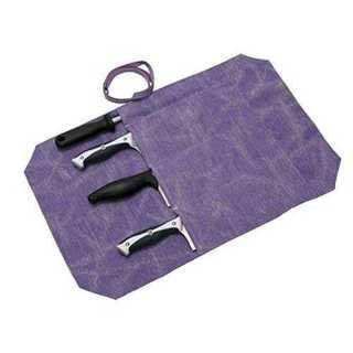 パープル QEES 巻き包丁ケース 収納 4本 食器収納 ナイフ 巻タイプ (キッチン収納)