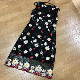 お花刺繍レースワンピース♡未使用品(ロングワンピース/マキシワンピース)