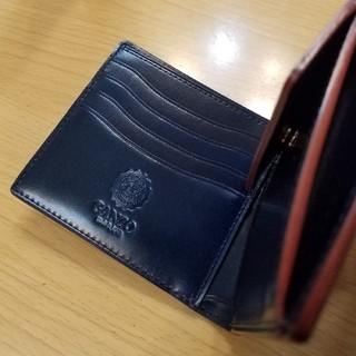 ガンゾ(GANZO)の《未使用》GANZO コードバンルチダ 小銭入れ付き2つ折り財布 ネイビー(折り財布)