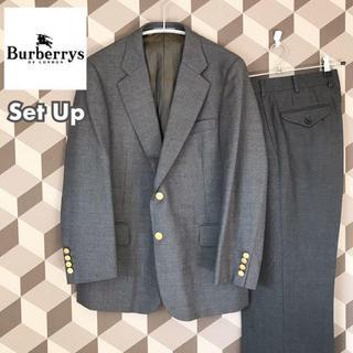 バーバリー(BURBERRY)の【美品】90s バーバリー セットアップ 金ボタン グレー ジャケット ブレザー(セットアップ)