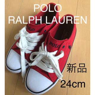ポロラルフローレン(POLO RALPH LAUREN)の新品 ラルフローレン  キャンバス  スニーカー  24cm 赤 レッド(スニーカー)