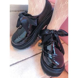 バブルス(Bubbles)のBUBBLES(バブルス) サテンリボンシューズ(ローファー/革靴)