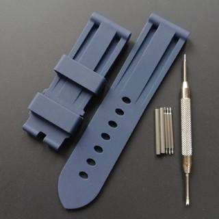 パネライ(PANERAI)のラバーベルト ブルー ラグ幅24mm パネライやアップルウォッチなどにオススメ(ラバーベルト)