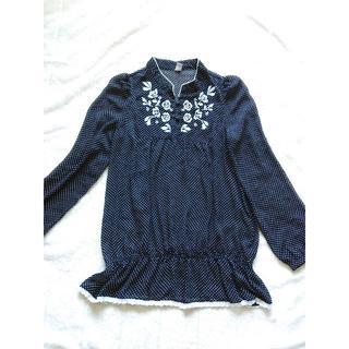 845 シースルー 刺繍 シャツ ドット(シャツ/ブラウス(長袖/七分))