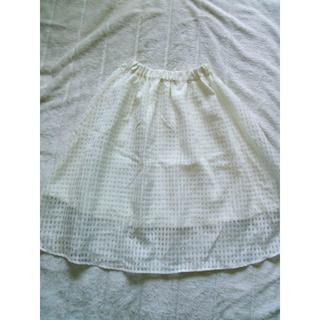 848 シースルー フレアースカート 白 ウエストゴム(ひざ丈スカート)