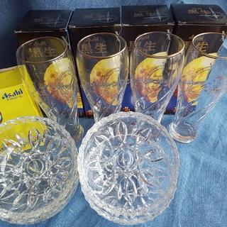 アサヒ(アサヒ)の【未使用】Asahi ☆ クオリティ小鉢 & 黒生グラス 各4個セット(グラス/カップ)