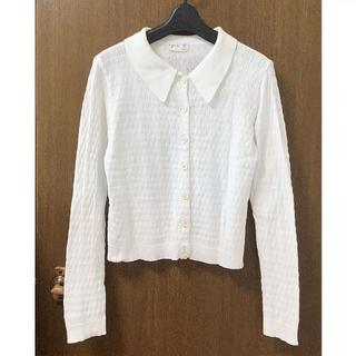 アニエスベー(agnes b.)のアニエスベー◆サイズ2 襟付きコットンカーディガン長袖白系(カーディガン)