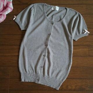 アンティローザ(Auntie Rosa)のアンティローザ 袖口リボン 半袖カーディガン(カーディガン)