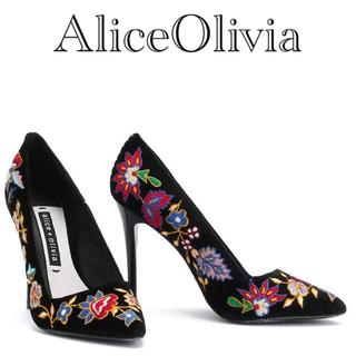 アリスアンドオリビア(Alice+Olivia)のAliceOlivia フラワー刺繍パンプス 36(ハイヒール/パンプス)