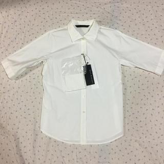 ディノス(dinos)の新品 レイシーラディアント リボンベルト付き コットンシャツ 白シャツ(シャツ/ブラウス(長袖/七分))