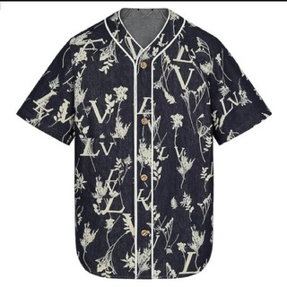 ルイヴィトン(LOUIS VUITTON)の新品本物LOUIS  VUITTON LVリーフデニムベースボールシャツ 3L(シャツ)