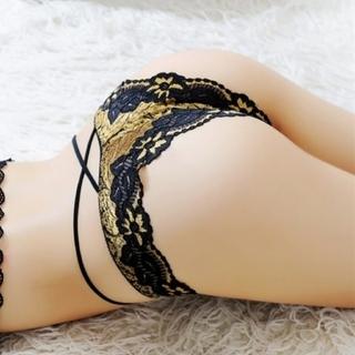 (*´艸`*)♪セクシーランジェリー レース ショーツ ブラック & ゴールド (ショーツ)