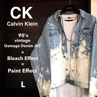 カルバンクライン(Calvin Klein)の【激レア1点物】Calvin kleinブリーチ×ペイント×ダメージデニムJKT(Gジャン/デニムジャケット)